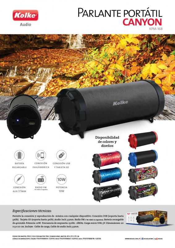 PARLANTE CANYON KOLKE KPM-168 BLUETOOTH al pormayor