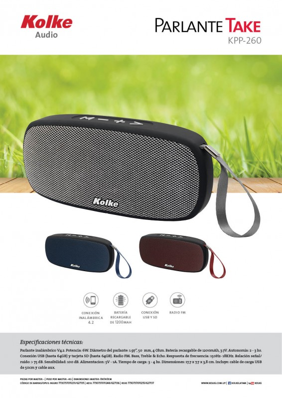 PARLANTE KOLKE TAKE KPP-260 BLUETOOTH  al pormayor
